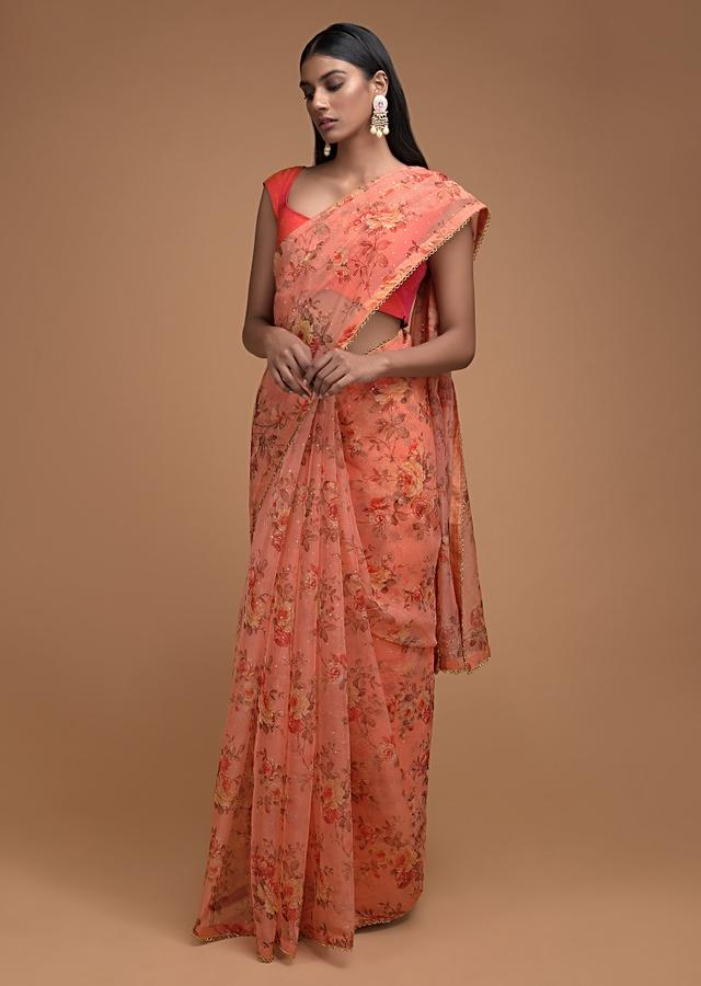 Lei Flower Peach Saree In Organza With Floral Print And Cut Dana Trim On The Border Online - Kalki Fashion
