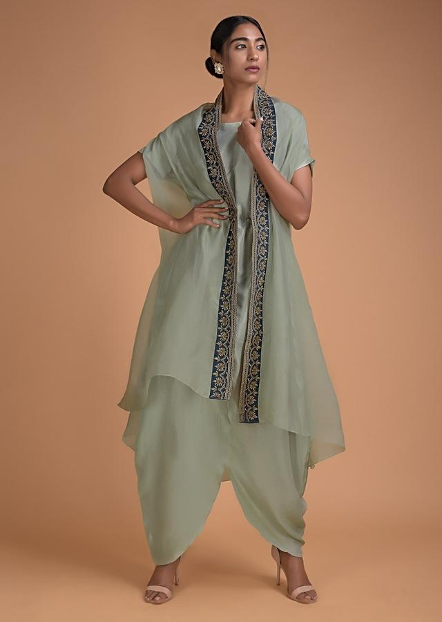 Leisure Green Dress With Tulip Cut Hemline And Jacket With Embroidered Border Online - Kalki Fashion