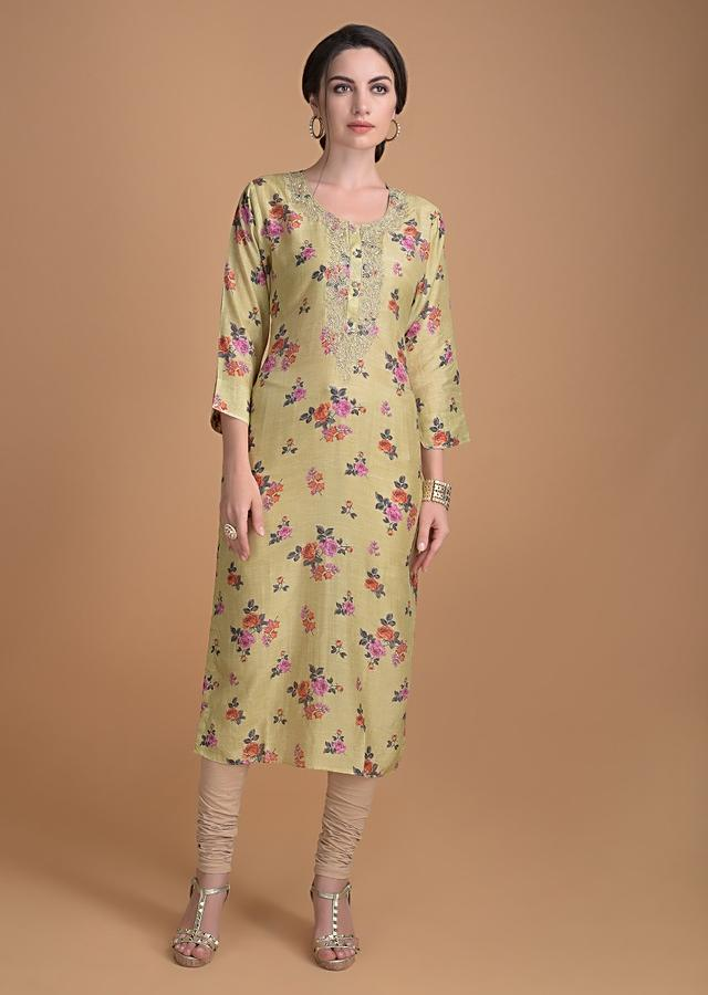 Lemon Green Kurti In Floral Print With Embroidered Placket Online - Kalki Fashion