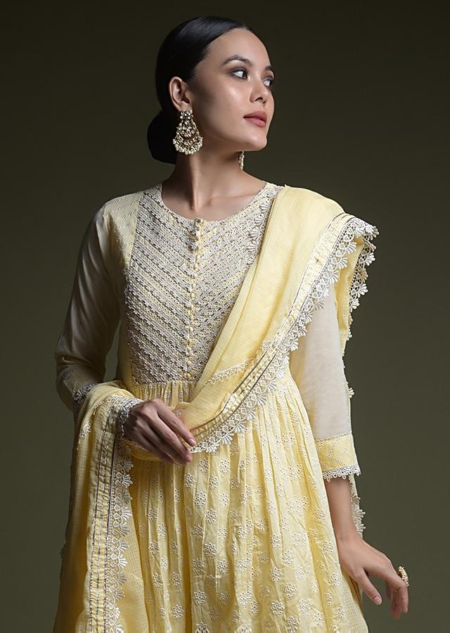Lemon Yellow A Line Suit In Cotton With Thread Cut Work Embroidered Buttis Online - Kalki Fashion