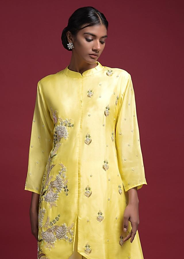 Lemon Yellow A Line Suit In Crepe With Floral Embroidery And Off White Palazzo Bottoms Online - Kalki Fashion