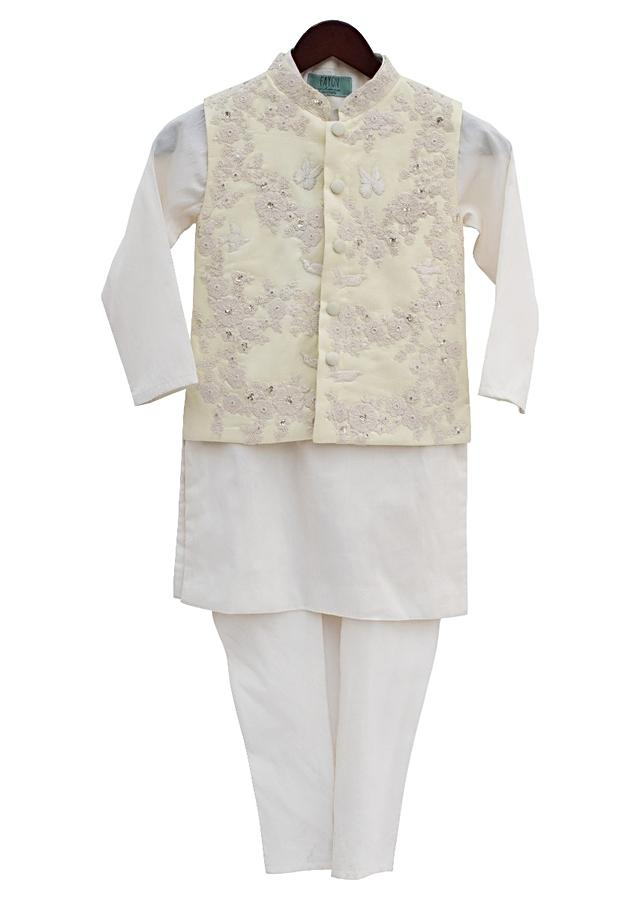Lemon Yellow Jacket With Embroidery And Off-White Kurti And Churidar by Fayon Kids
