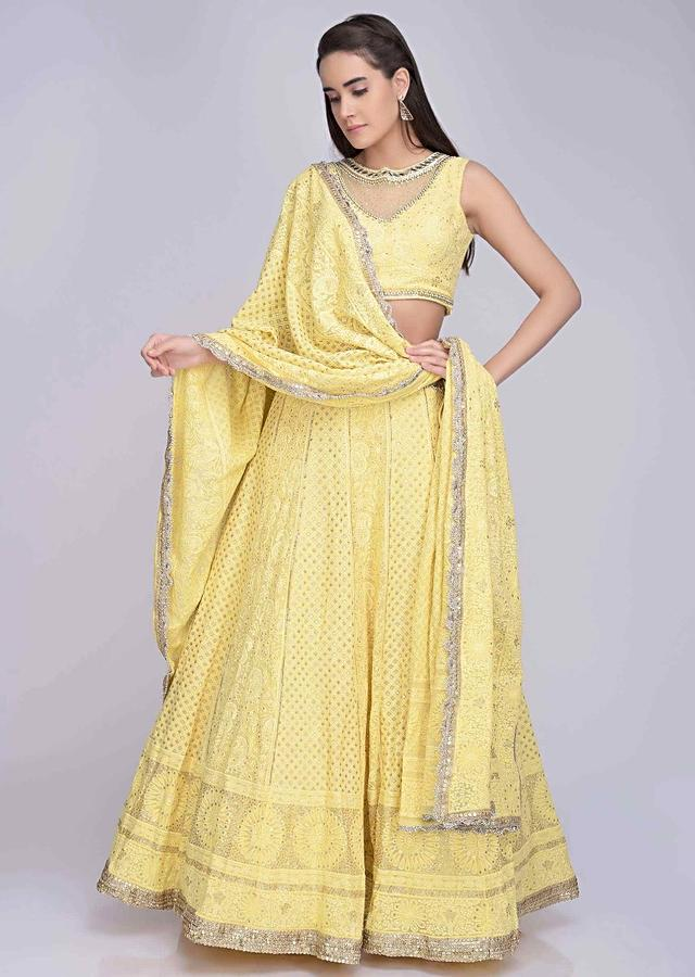 Lemon Yellow Lehenga Set In Georgette With Lucknowi Thread Work Online - Kalki Fashion