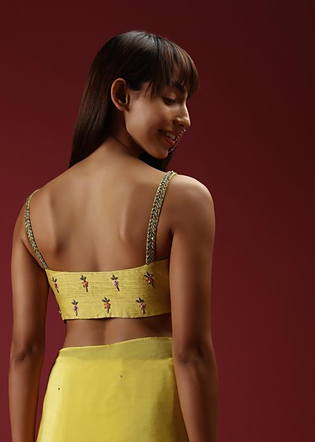 Lemon Yellow Ruffle Saree And Multi Colored Hand Embroidered Crop Top With Plunging Neckline And Belt Online - Kalki Fashion