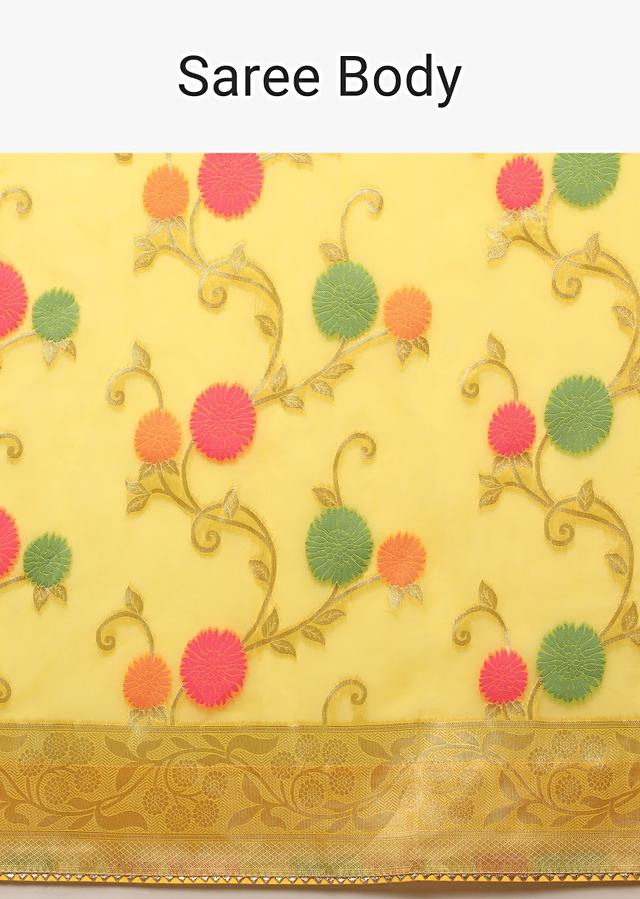 Lemon Yellow Saree In Organza With Multi Colored Woven Floral Jaal And Moroccan Motifs On The Pallu Along With Unstitched Blouse Online - Kalki Fashion