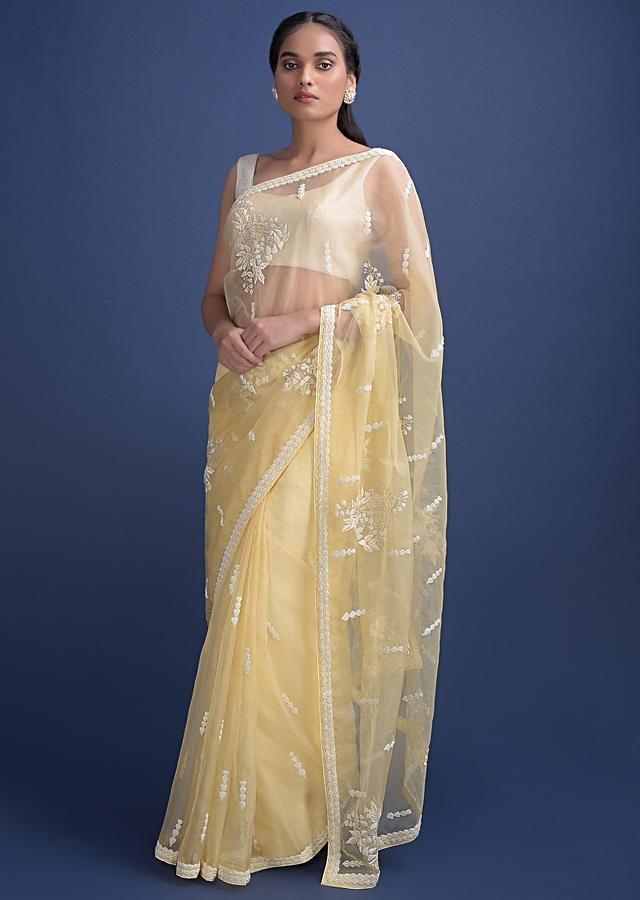 Lemon Yellow Saree In Organza With Net Applique And Embroidery Work Online - Kalki Fashion