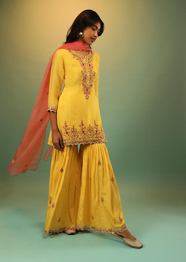 Lemon Yellow Sharara Suit In Cotton Silk With Multi Colored Resham And Mirror Embroidered Floral Design Online - Kalki Fashion