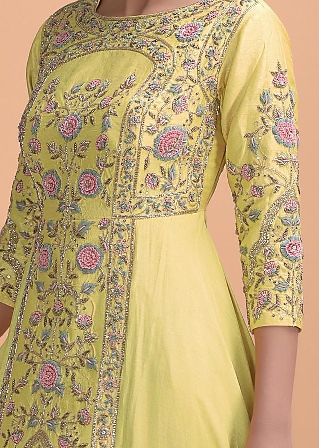 Lemon Yellow Indowestern Gown With Hand Embroidery In Floral And Bird Pattern Online - Kalki Fashion