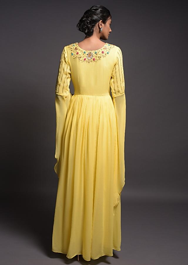 Lemon Yellow Long Dress With Extended Floor Length Sleeves And Floral Embroidery Online - Kalki Fashion