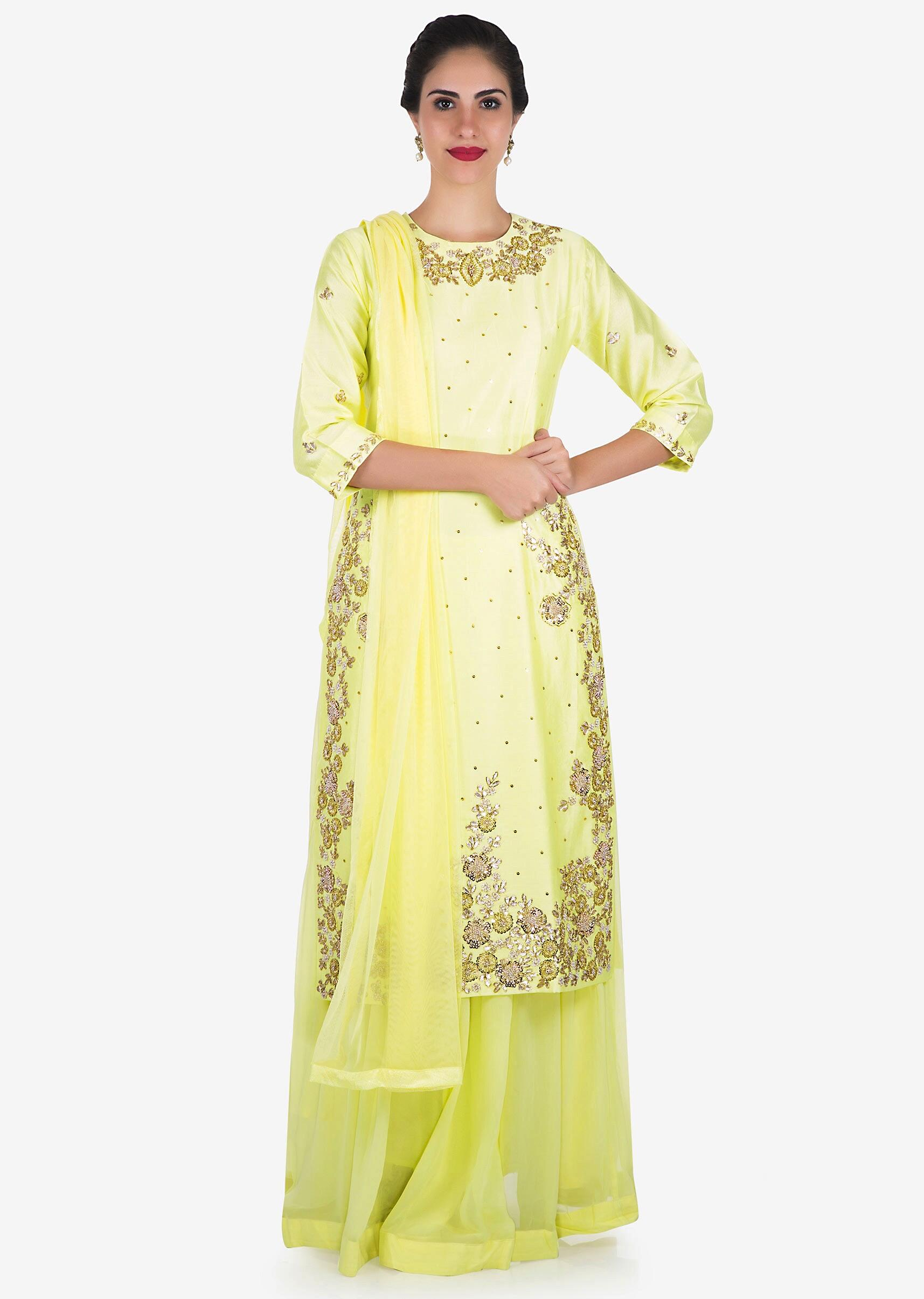 a41b7043e8838 Lemon yellow palazzo suit embellished in gota patti and thread embroidery  work only on KalkiMore Detail