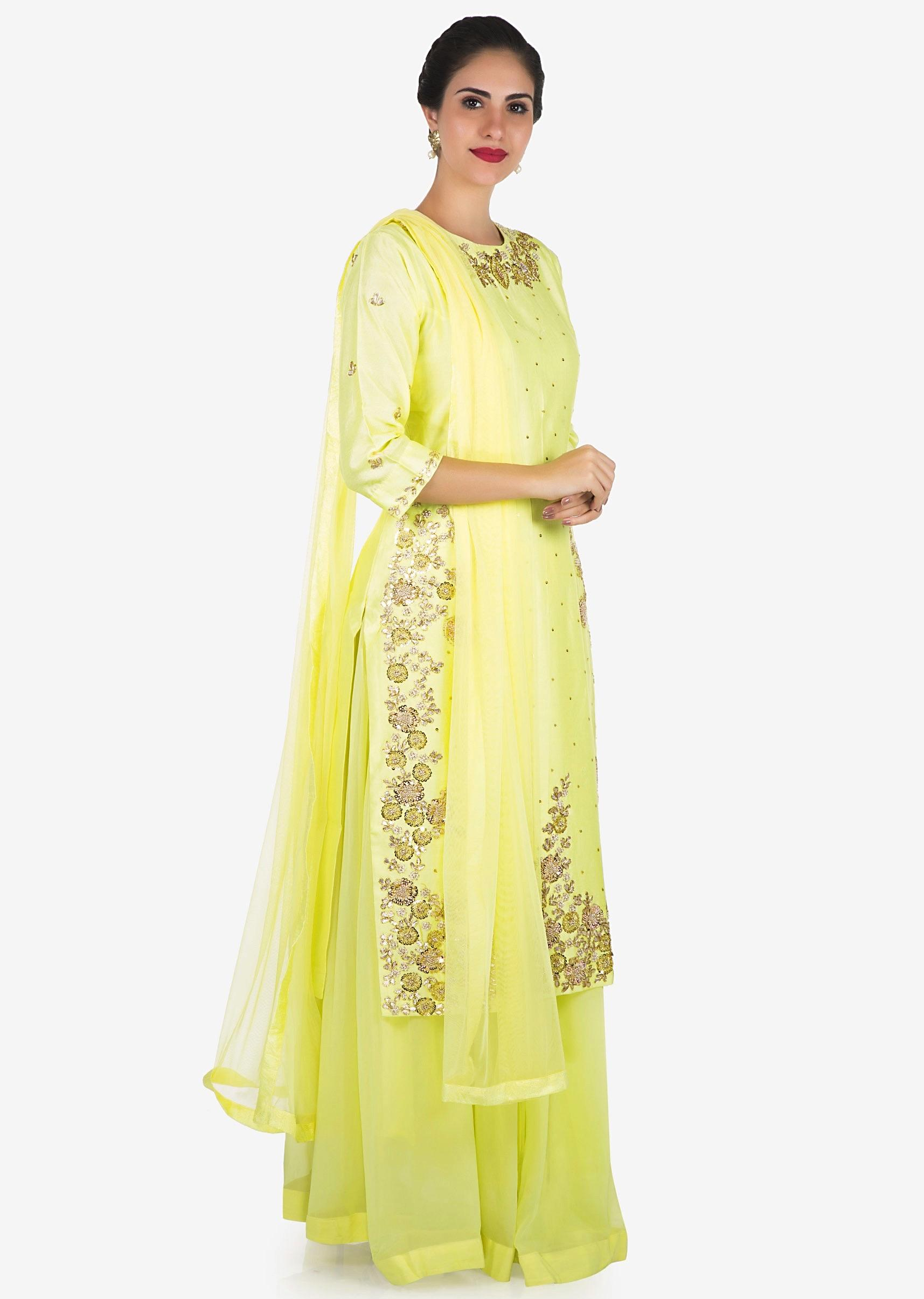 e84481c036adb Lemon yellow palazzo suit embellished in gota patti and thread embroidery  work only on Kalki