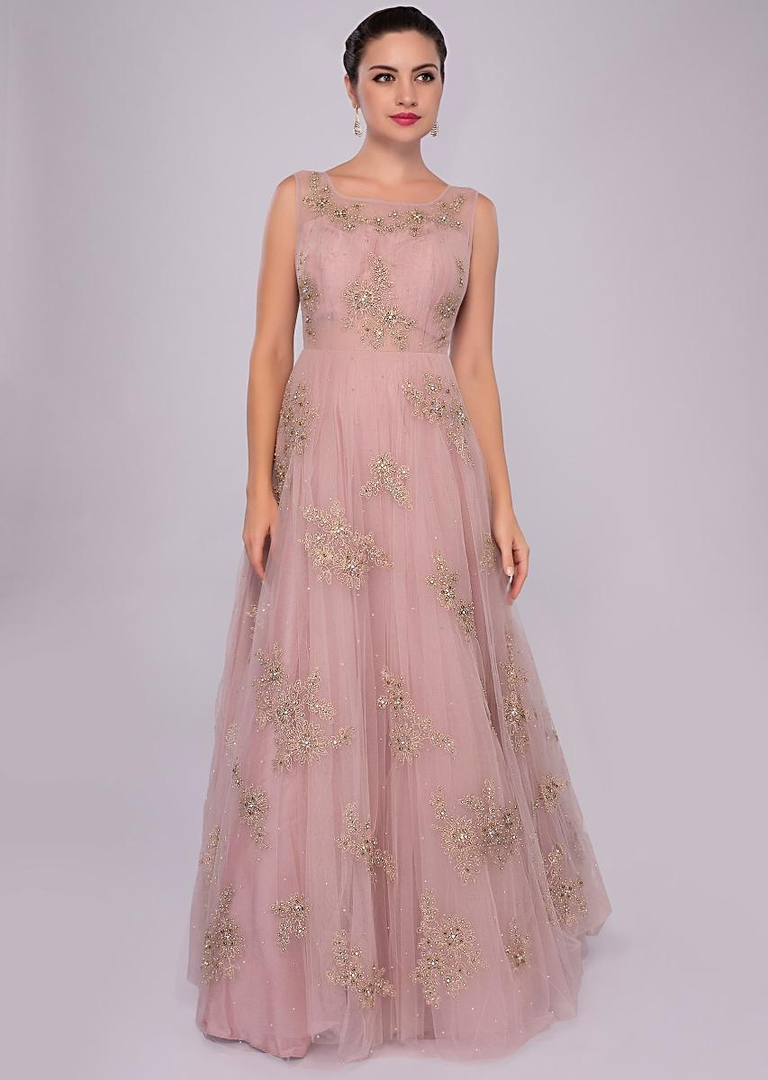 594642b9d13 lemonade pink net gown with floral embroidered butti only on Kalki