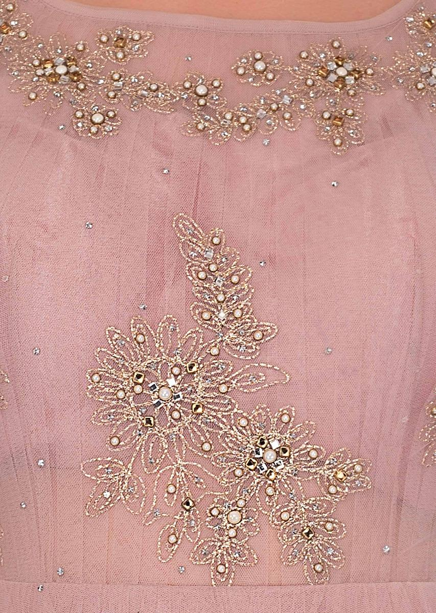 01ea1e9013 lemonade pink net gown with floral embroidered butti only on Kalki