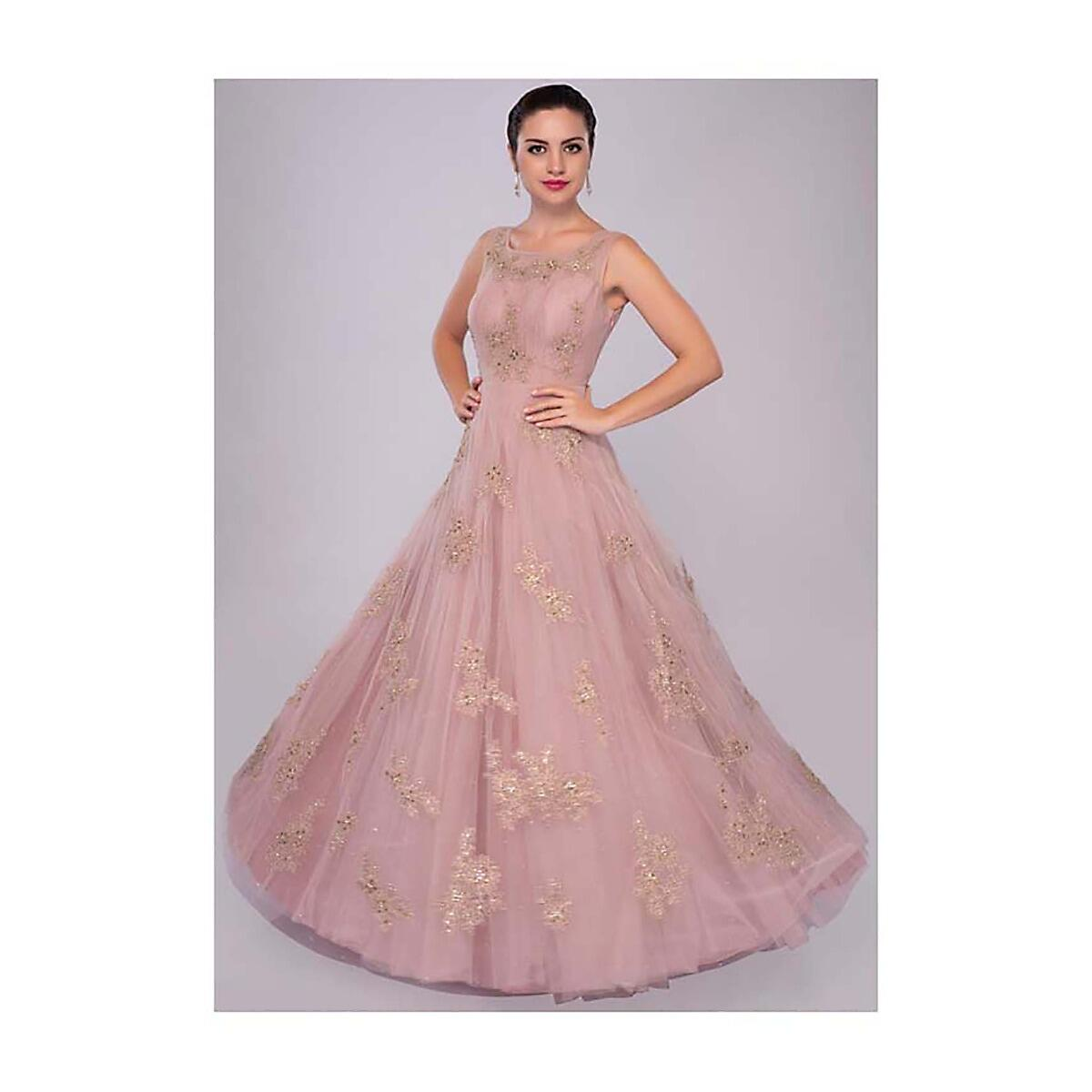 98ad957b1d lemonade pink net gown with floral embroidered butti only on KalkiMore  Detail