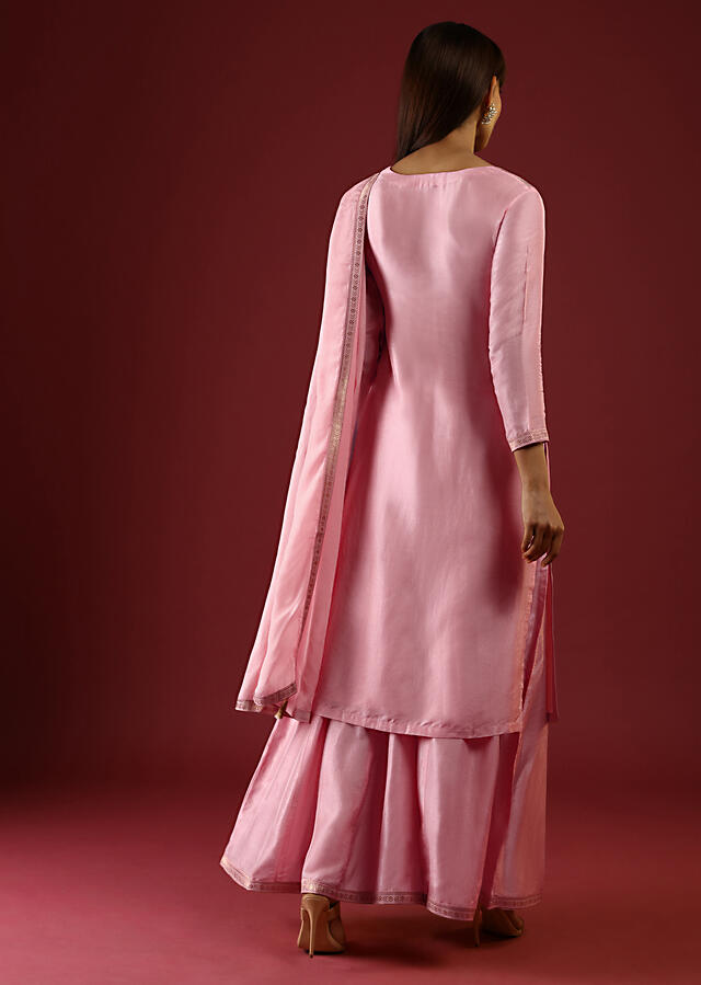 Lemonade Pink Palazzo Suit In Silk With Brocade Buttis And Ethnic Motif Online - Kalki Fashion