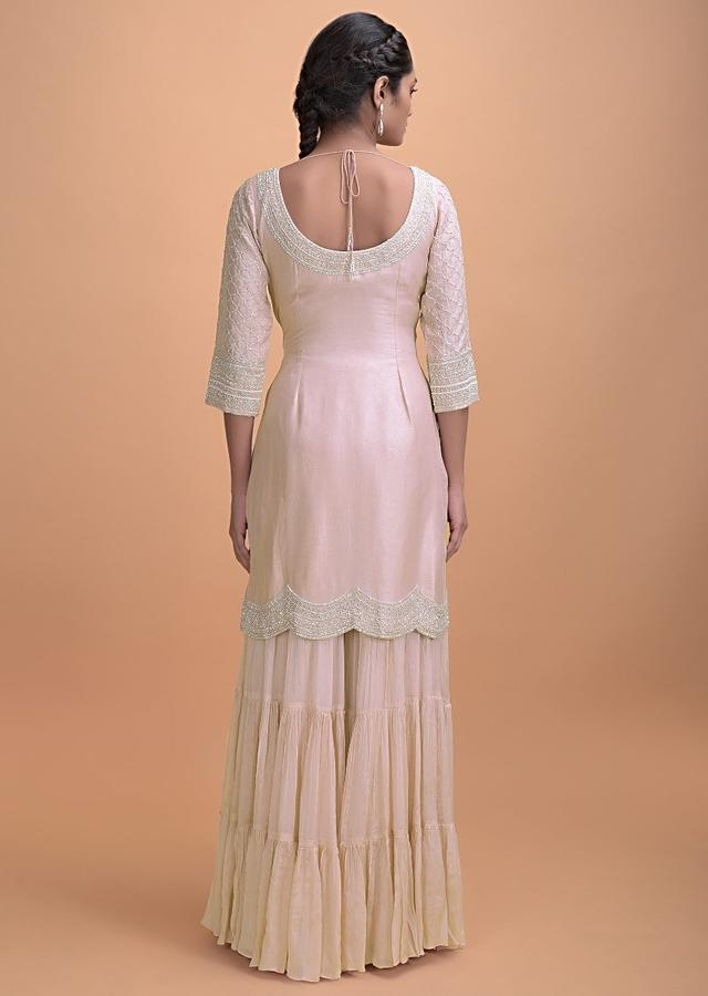 Lemonade Pink Sharara Suit With Cut Dana Embroidery In Moroccan Pattern Online - Kalki Fashion