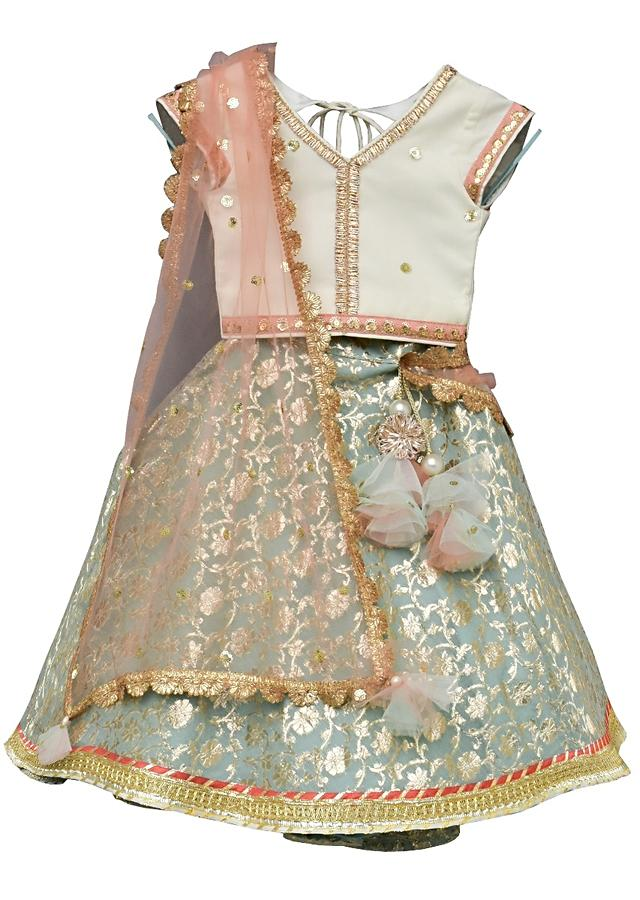 Light Blue Lehenga In Brocade Silk With Weaved Floral Jaal And Off White Choli By Fayon Kids