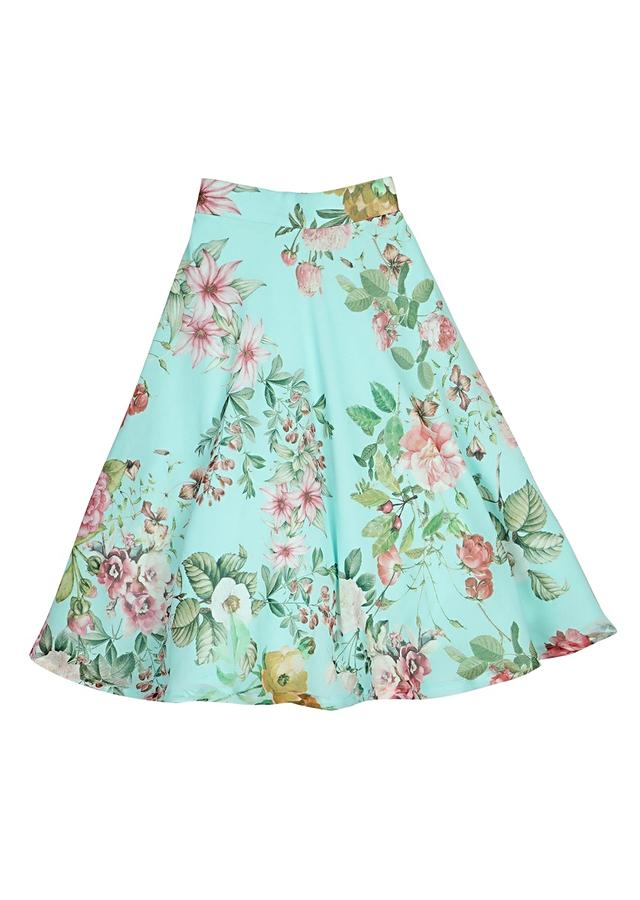 Light Blue Lehenga With Floral Print And Pink Ruffle Crop Top Online - Free Sparrow