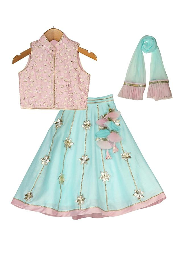 Light Blue Lehenga With Gotta Work And Pink Embroidered Choli Online - Free Sparrow