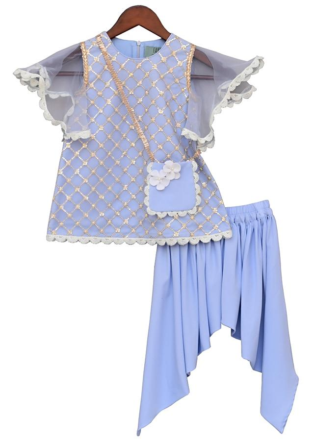 Light Blue Kurti In Net With Fancy Sleeve Matched With Dhoti by Fayon Kids