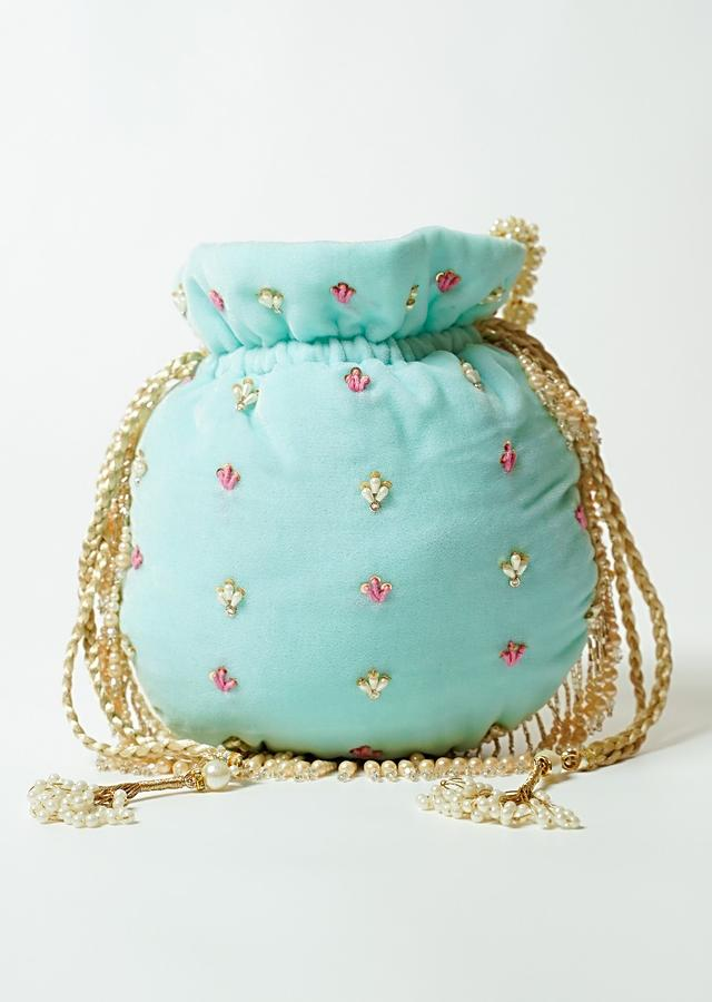 Light Blue Potli Bag In Velvet Adorned With Multicolored Thread And Beads Embroidered Scallop Design By Shubham