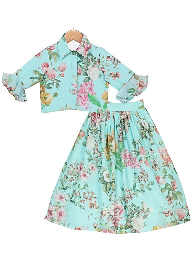 Light Blue Skirt And Crop Top Set In Floral Printed Georgette With Bell Sleeves Online - Free Sparrow