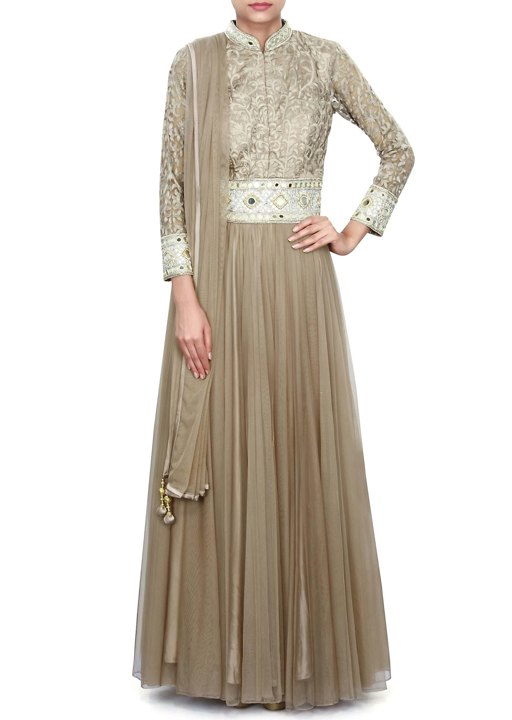 c81f505e9 Light brown anarkali suit adorn in resham and mirror only on KalkiMore  Detail
