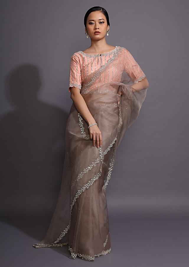 Light Brown Saree In Organza With Sequins Embellished Border And Contrasting Peach Blouse Online - Kalki Fashion