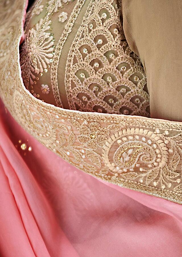 Light Brown Straight Suit In Chiffon With Thread Panel Embroidery Online - Kalki Fashion
