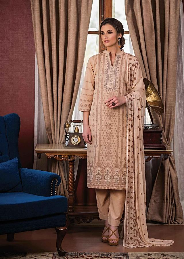 Light Brown Unstitched Suit In Cotton Silk With Weave Embroidery Online - Kalki Fashion