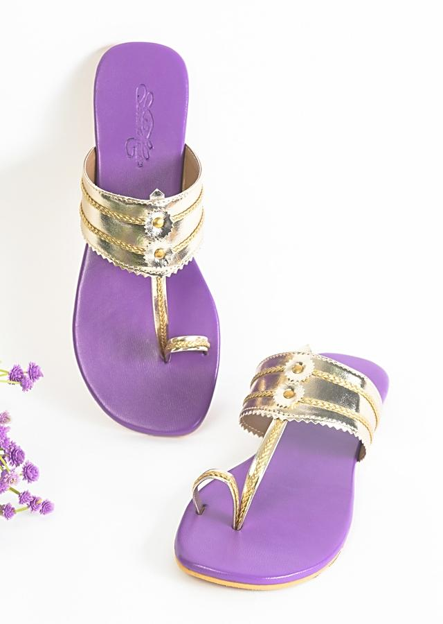 Light Gold Kolhapuri Flats With Purple Sole By Sole House