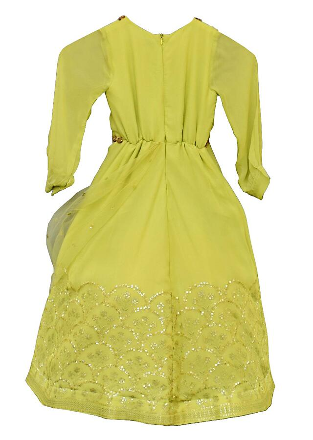 Light Green Anarkali Suit With Sequins Embroidery In Scallop Pattern By Fayon Kids