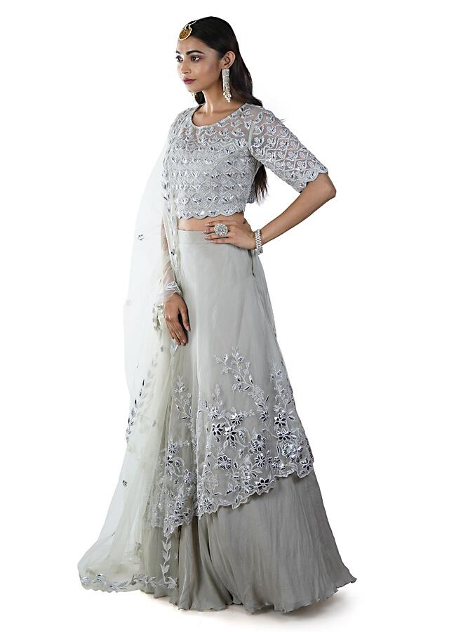 Light Green Asymmetrically Layered Lehenga Paired With Floral Rexin Embroidered Blouse And Dupatta Online - Kalki Fashion
