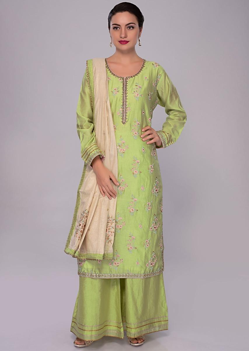 ccd8fdfbdc Light green cotton silk palazzo suit set with contrasting cream dupatta  only on KalkiMore Detail