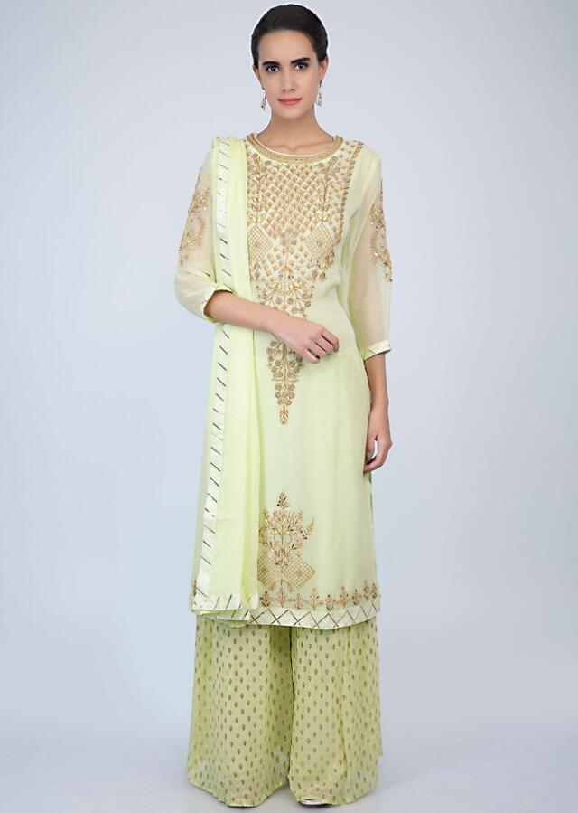 Light Green Palazzo Suit Set In Georgette With Embroidery Online - Kalki Fashion