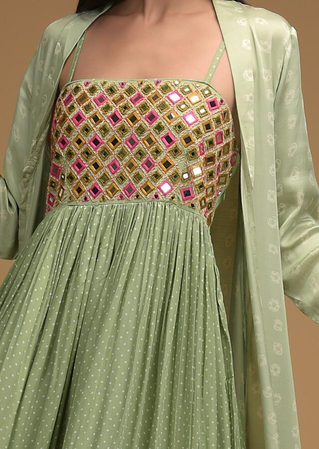 Light Green Long Dress And Jacket Set With Bandhani Print And Mirror Abla Embroidery Online - Kalki Fashion