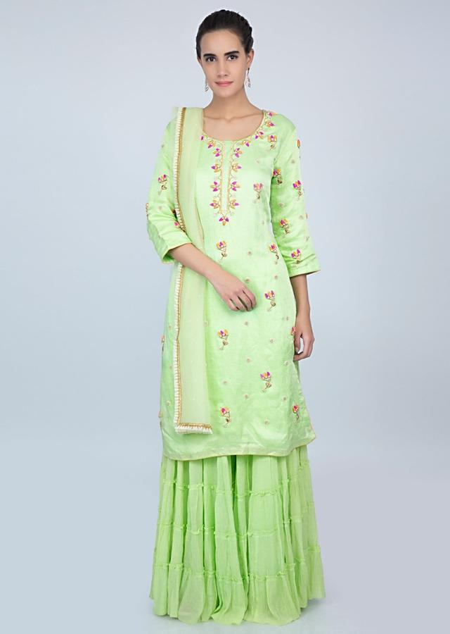 Light Green Sharara Suit With Floral Embroidered Butti Online - Kalki Fashion
