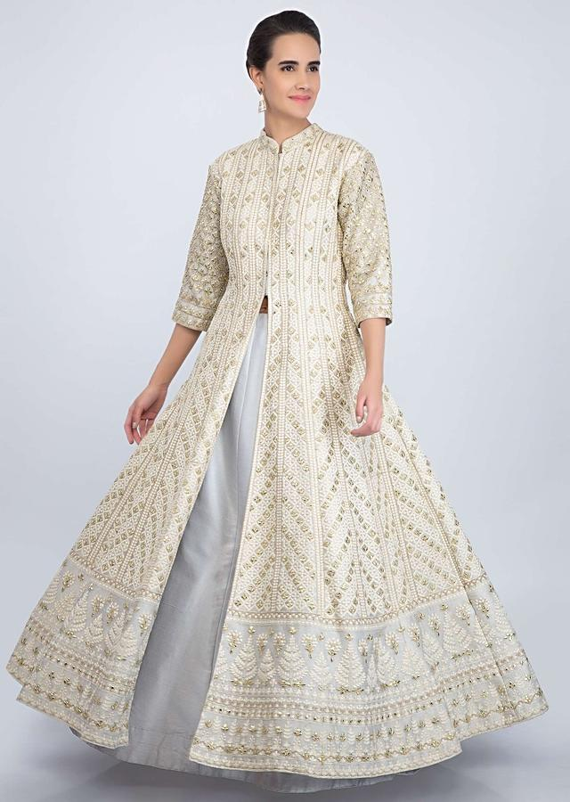 Light Green Jacket With Thread Jaal Embroidery Paired With Grey Lehenga And Pink Net Dupatta Online - Kalki Fashion