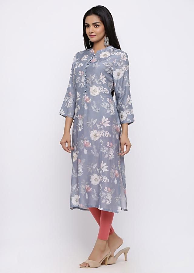 Light Lilac Kurta With Floral Jaal And  Sequin Work Online - Kalki Fashion