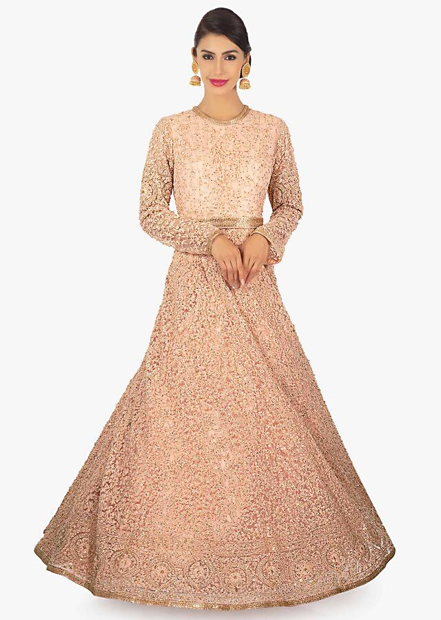 Light Peach Anarkali Gown In Thread Work Along With Cut Dana And Sequins Online - Kalki Fashion