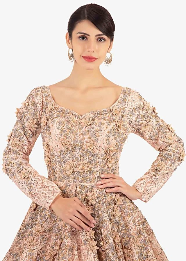 Light Peach Ballroom Lace Gown Embellished In Embroidery And 3 D Flowers Online - Kalki Fashion