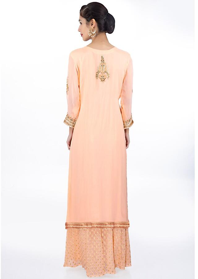 Light Peach Suit In Embroidered Georgette Paired With Weaved Palazzo And Matching Chiffon Dupatta Online - Kalki Fashion