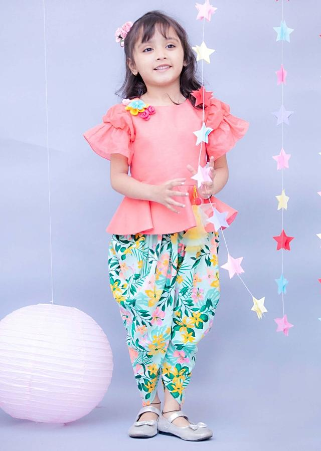 Light Peach Peplum Top With Floral Printed Dhoti Pants By Fayon Kids