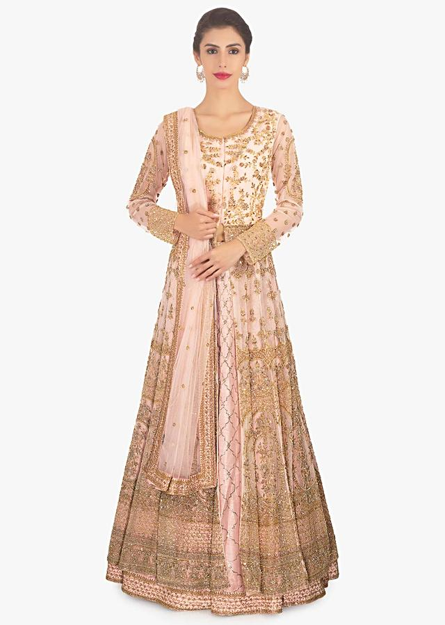 Harshdeep Kaur In Kalki Light Peach Lehenga In Raw Silk Paired With Long Embroidered Net Jacket And Dupatta