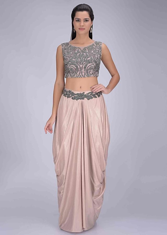 Light Peach Skirt In Shimmer Lycra With Embellished Blouse And Tiered Organza Jacket Online - Kalki Fashion