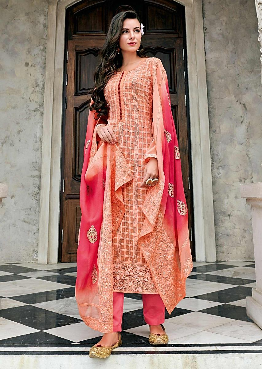 336116df5ba Light Peach Straight Suit In Chiffon With Checks Motif In Thread Embroidery  Online - Kalki Fashion