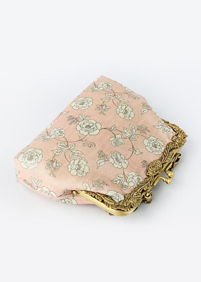Light Pink Clutch With Classic Old Floral Print Pattern By Vareli Bafna
