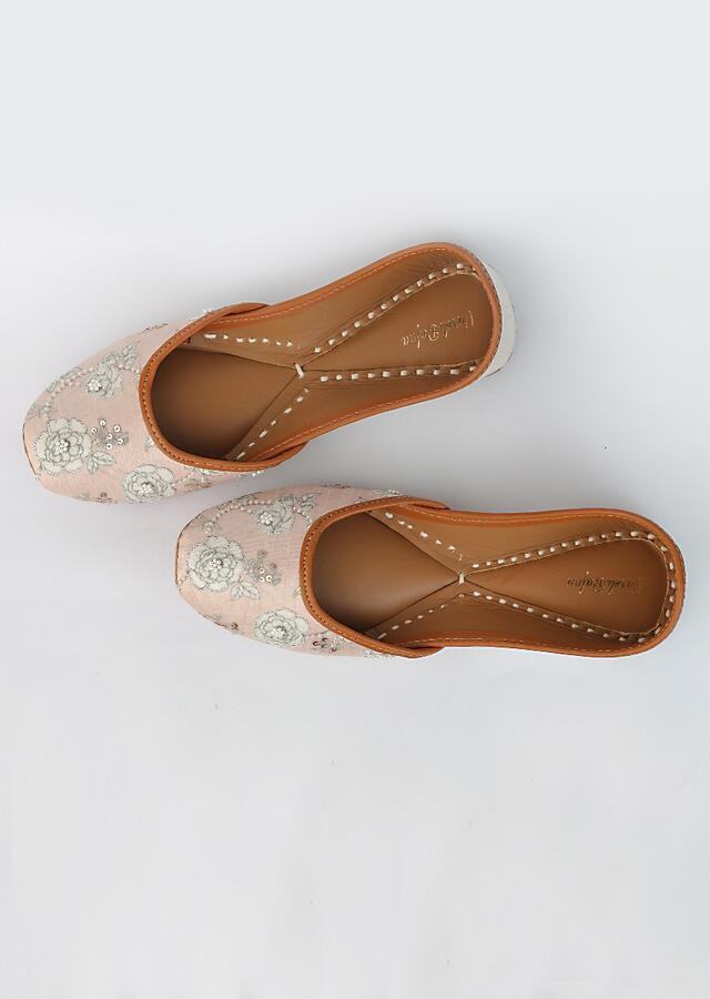 Light Pink Juttis With Classic Old Floral Print And Accented With Holographic Beads, Pearls And Rose Gold Sequins By Vareli Bafna