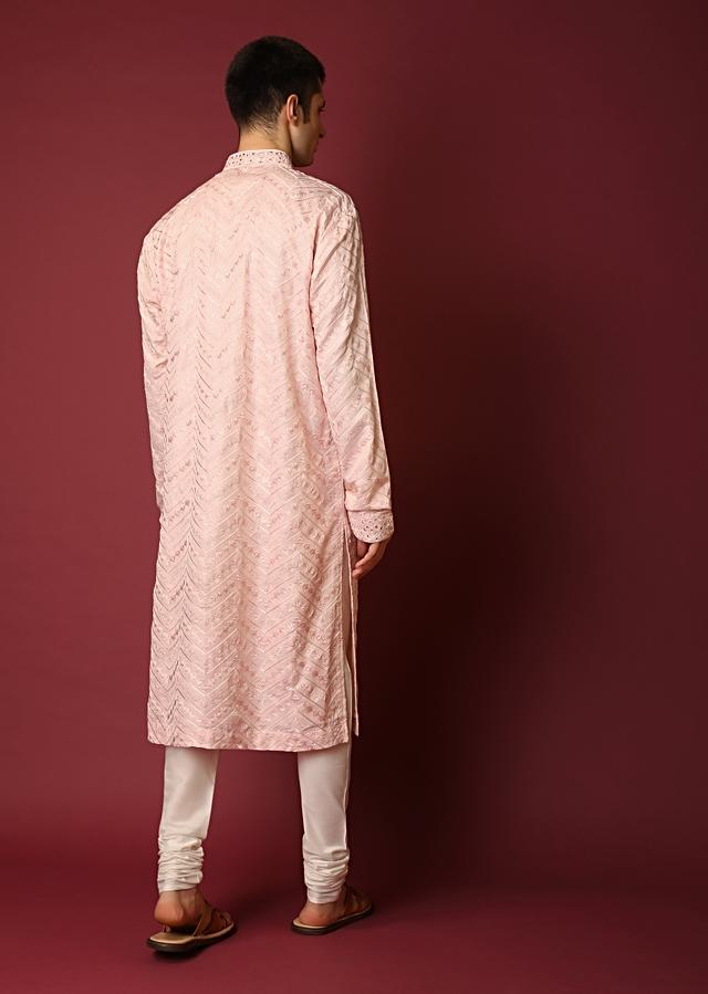 Light Pink Kurta Set In Raw Silk With Lucknowi Thread And Mirror Embroidered Floral Jaal And Chevron Design Online - Kalki Fashion