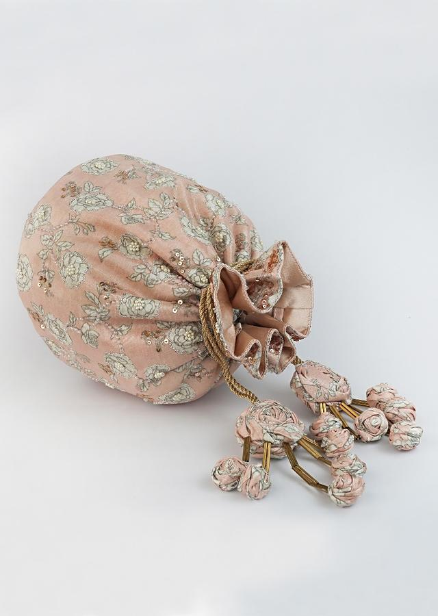 Light Pink Potli Bag With Floral Print And Accented Using Holographic Beads, Pearls And Sequins By Vareli Bafna